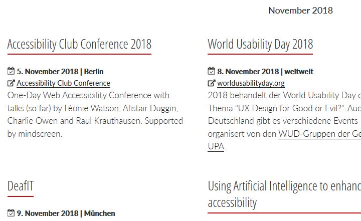 Screenshot Eventliste zu digitaler Barrierefreiheit