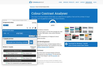 Screenshot Colour Contrast Analyser: App und Website