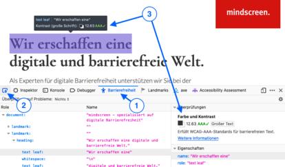 Screenshot einer Website mit offenen Developer Tools. Ein schwarzer Text auf weißem Hintergrund ist markiert. Der Tooltip zeigt den Kontrast (12.63 AA). Markiert ist die Reihenfolge: 1 Reiter Barrierefreiheit, 2 Icon Auswahl, 3 Tooltip und Hinweis im den Developer Tools.