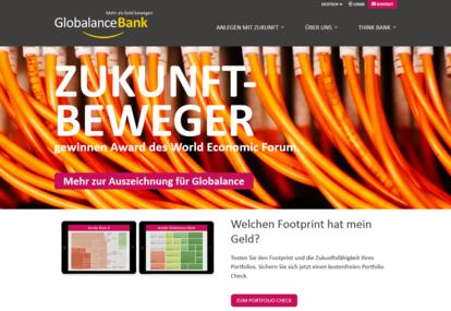 Screenshot der Website www.globalance-bank.com