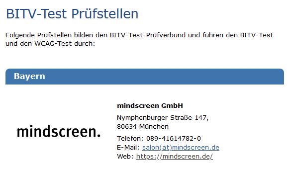 Screenshot Website BITV Test Prüfstellen