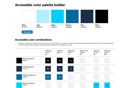 Viele Farbfelder auf einmal validieren mit dem Online-Werzeug Accessible Color palette builder