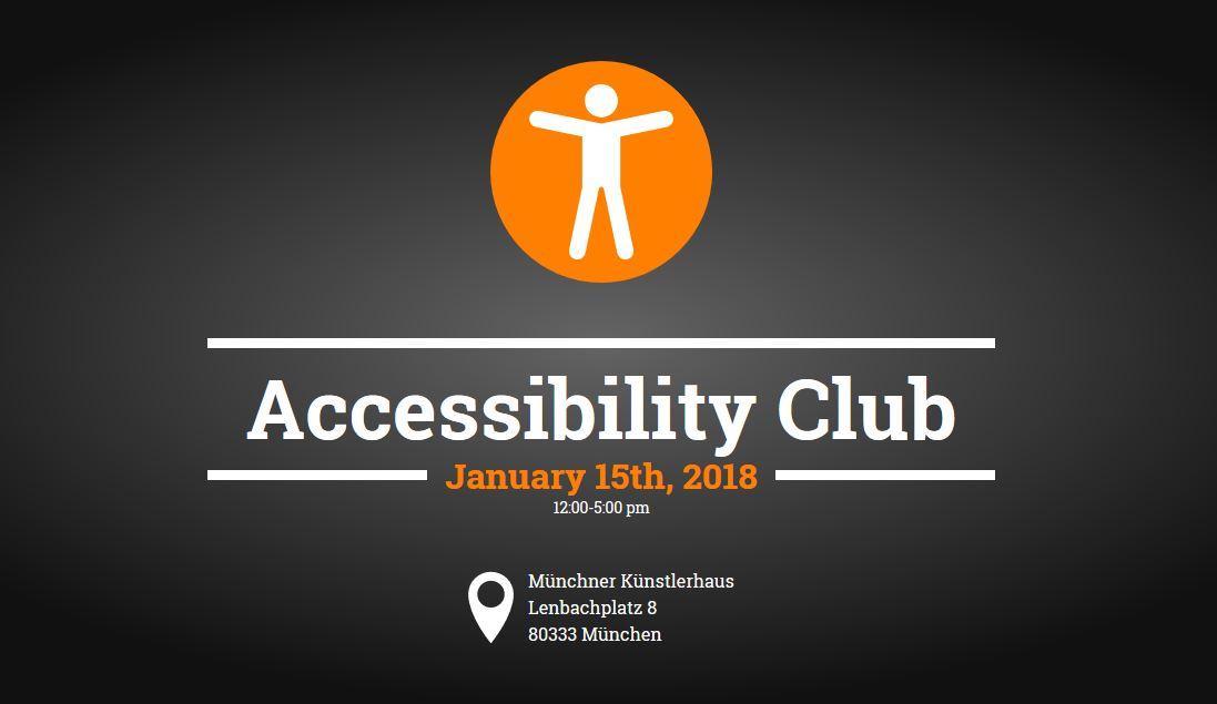 Accessibility Club am 15. Januar 2018 im Münchner Künstlerhaus. Adresse: Lenbachplatz 8, 80333 München