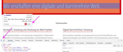 Screenshot vom Developer Tool in Chrome mit den Informationen zum Farbkontrast