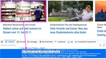 Screenshot einer Webseite. Ein Bild ist umrandet und ein Pfeil zeigt auf den Alternativtext in den Developer Tools.