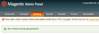 Screenshot vom Magento Admin Panel mit der Fehlermeldung.