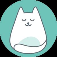 Visuelles Zeichen von CAAT: Eine abstrahierte runde Katze.