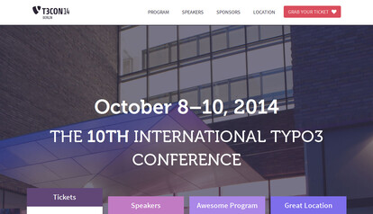 Website T3CON14 Berlin | 8. bis 10. Oktober 2014 | The 10th International TYPO3 Conference