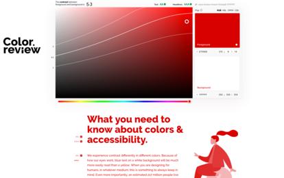Color.review visualsiert die Farbkontraste in einem Beispieltext und Illustration